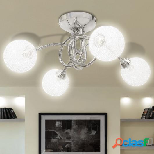 Lámpara de techo con pantalla de malla de alambre para 4