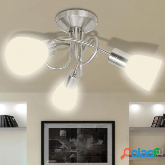 Lámpara de techo con pantallas de cristal para 3 bombillas