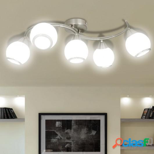 Lámpara de techo con pantallas de cristal y soporte curvado