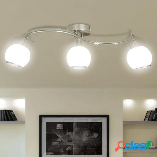 Lámpara de techo de cristal con soporte curvado para 3