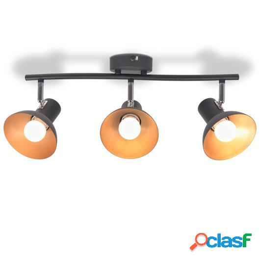 Lámpara de techo para 3 bombillas E27 negra y dorada