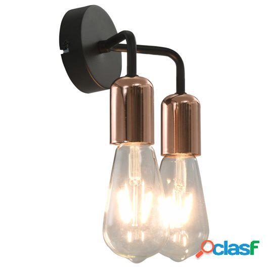 Lámparas de pared con bombillas filamento 2 W negro y cobre