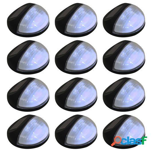 Lámparas solares LED de pared exterior redonda 12 uds negro