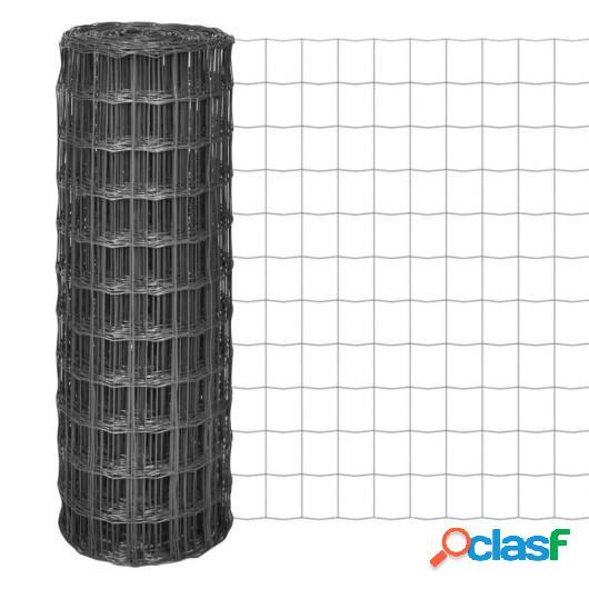 Malla de acero Euro Fence gris 25x1,7 m/100x100 mm