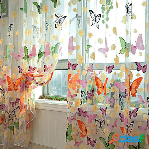 Mariposa impresa cortinas de ventana escarpadas Tulle puerta