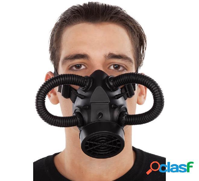 Mascarilla de Gas Steampunk Negra con tubos