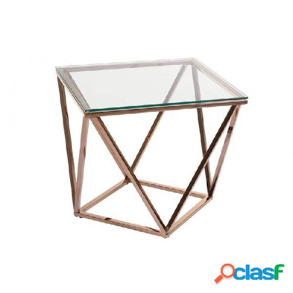 Mesa Auxiliar Cristal Oro Transparente Y Acero 50 X 55