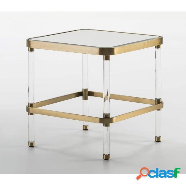 Mesa Auxiliar Cristal Y Acrilico Moderno 50x50x59