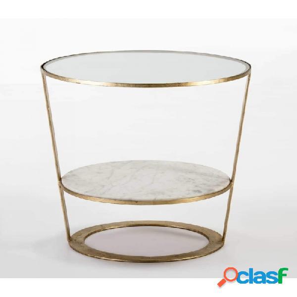 Mesa Auxiliar Cristal Y Marmol Moderno 56x56x56