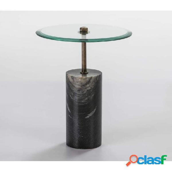 Mesa Auxiliar Cristal Y Metal Moderno 39x39x57