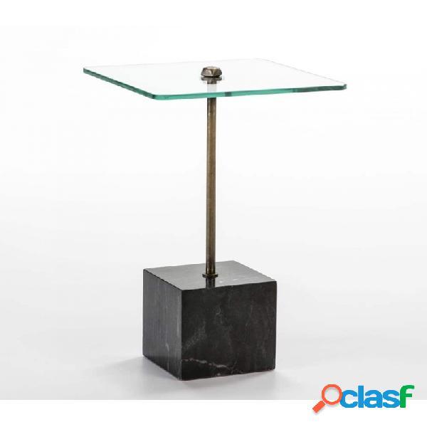 Mesa Auxiliar Cristal Y Metal Moderno 40x40x66