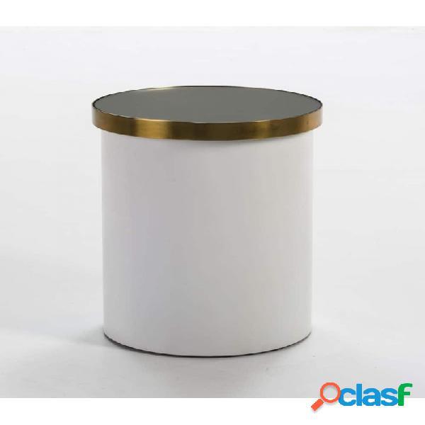 Mesa Auxiliar Cristal Y Metal Moderno 43x43x51