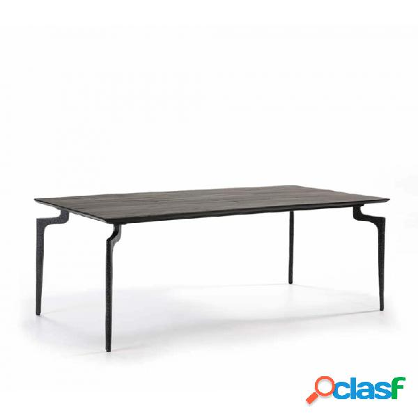 Mesa Comedor Negro Metal Y Madera 180x90x76