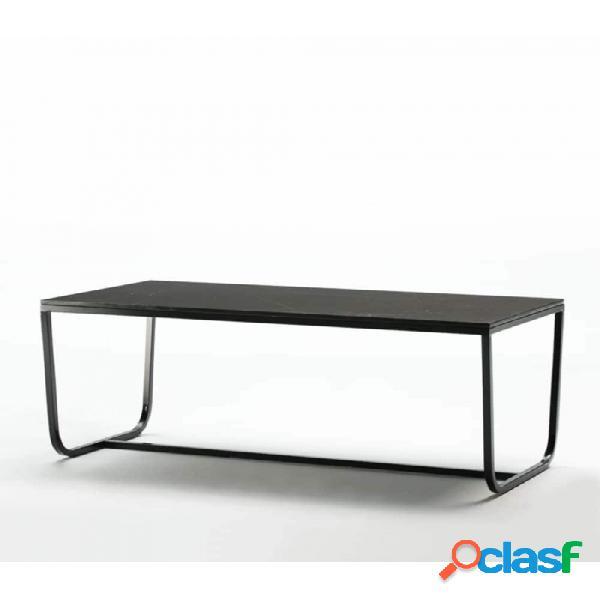 Mesa Comedor Negro Metal Y Marmol Moderno 180x90x74