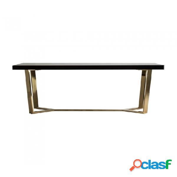 Mesa Comedor Negro Oro Dm Y Acero 200 X 100 77