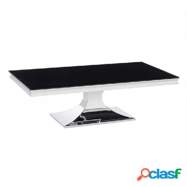Mesa De Centro Negro Plata Cristal Acero Y Moderno 130.00 X