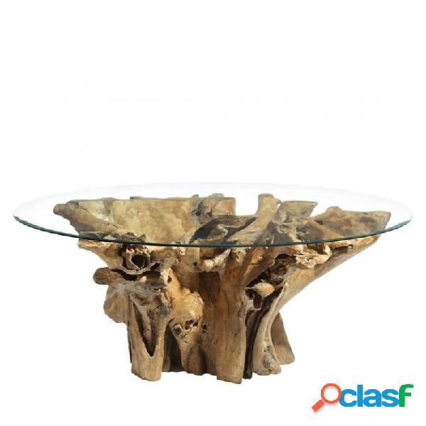 Mesa De Comedor Natural Cristal Madera Y Rustico 150.00 X