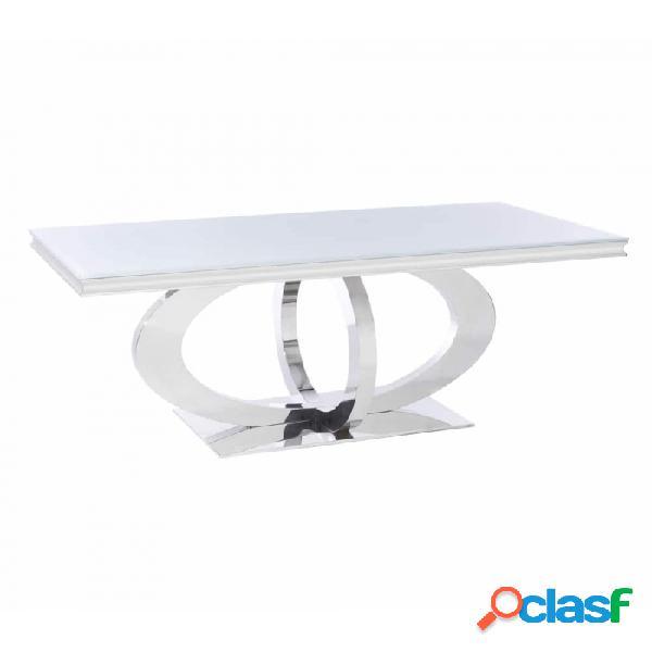 Mesa De Comedor Plata Cristal Acero Y Moderno 180.00 X 90.00