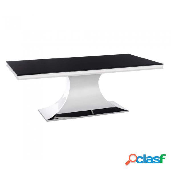 Mesa De Comedor Plata Negro Cristal Acero Y Moderno 180.00 X