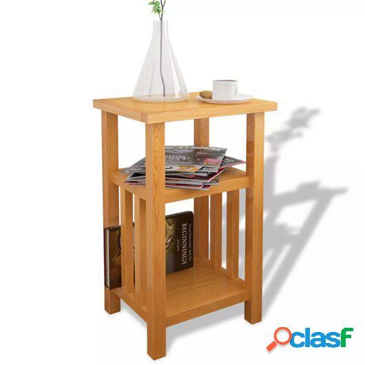 Mesa auxiliar con estante de madera de roble maciza