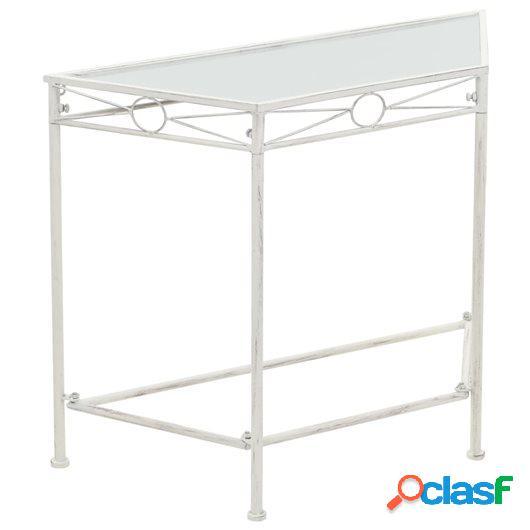 Mesa auxiliar de estilo vintage metal 87x34x73 cm blanca