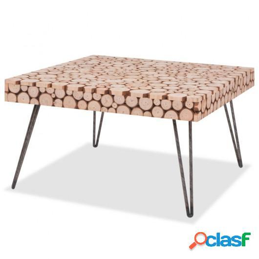 Mesa auxiliar de madera genuina 60,8x60,8x34,5 cm
