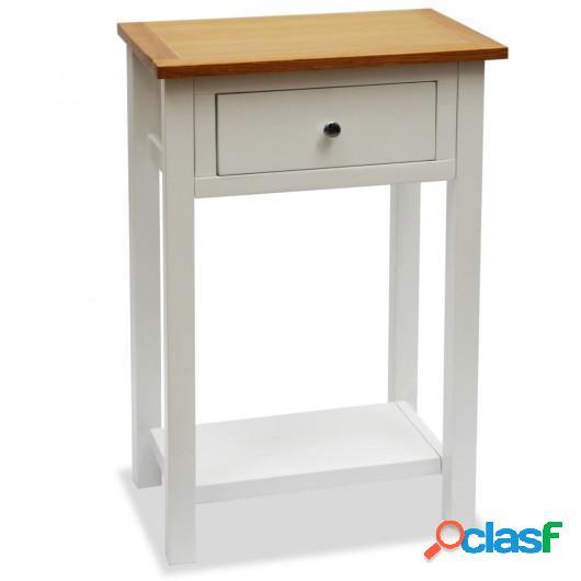 Mesa auxiliar de madera maciza de roble 50x32x75 cm