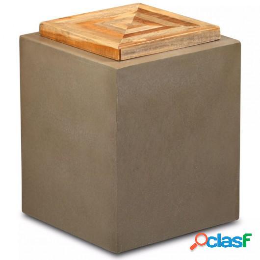 Mesa auxiliar de teca reciclada y hormigón 35x35x45 cm