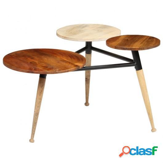 Mesa centro madera mango maciza y acero 89x77x52 cm