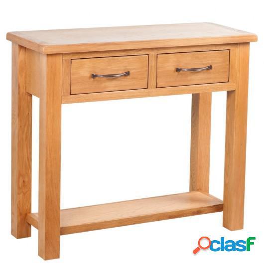 Mesa consola con 2 cajones madera maciza de roble 83x30x73