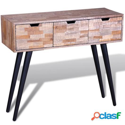 Mesa consola con 3 cajones de madera de teca reciclada