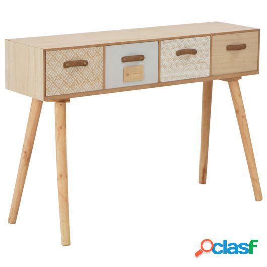 Mesa consola con 4 cajones madera maciza de pino 110x30x75