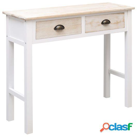 Mesa consola de madera color natural y blanco 90x30x77 cm