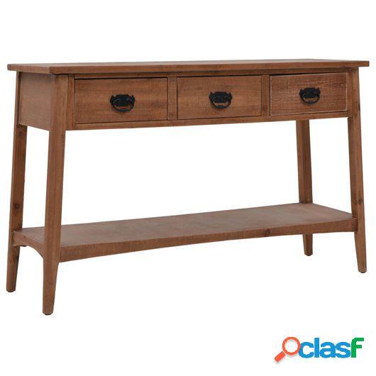 Mesa consola de madera de abeto maciza marrón 126x40x77,5