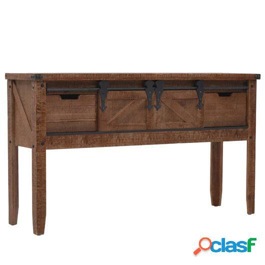 Mesa consola de madera de abeto maciza marrón 131x35,5x75