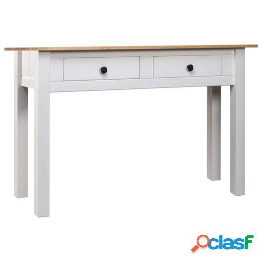 Mesa consola de madera de pino estilo Panamá blanco