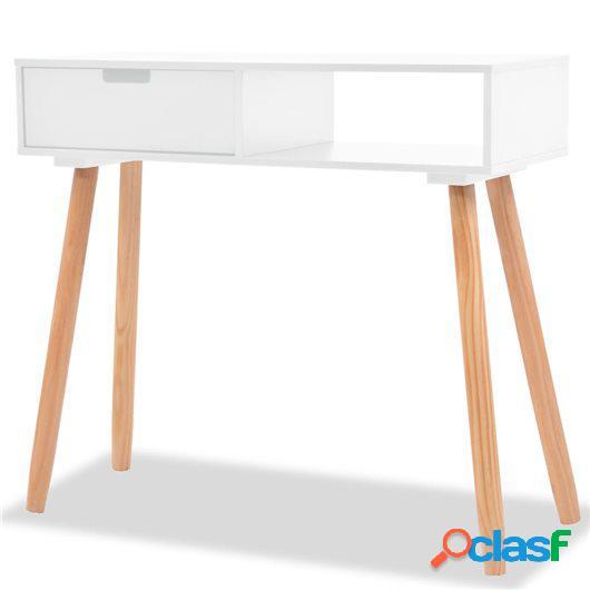 Mesa consola de madera maciza de pino 80x30x72 cm blanco