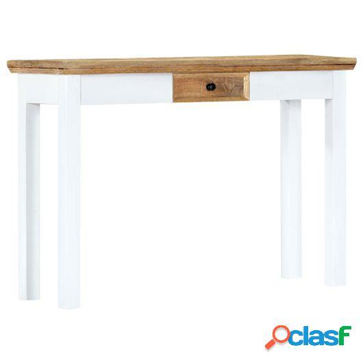 Mesa consola de madera maciza mango blanca marrón 110x35x75