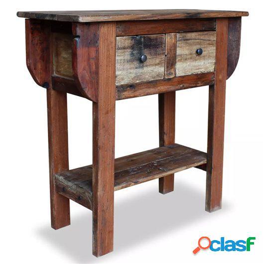 Mesa consola de madera maciza reciclada 80x35x80 cm