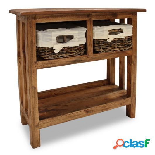 Mesa consola de madera maciza recicladaa 69x28x70 cm