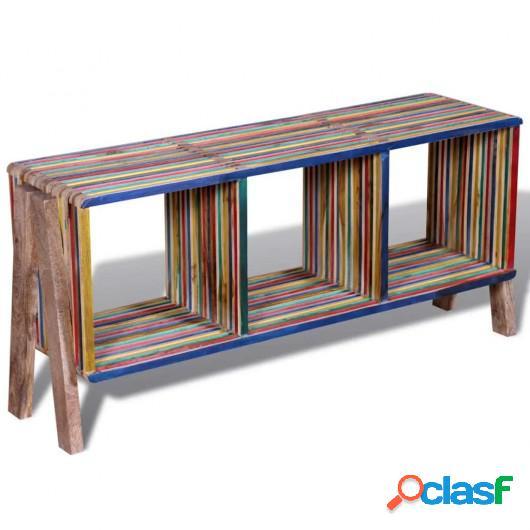 Mesa de TV de teca reciclada con 3 cajones apilables,