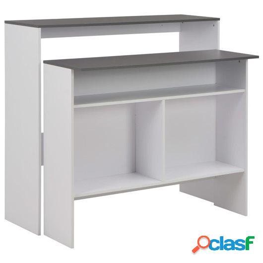 Mesa de bar con 2 encimera blanca 130x40x120 cm