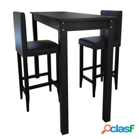 Mesa de bar con 2 sillas de barra negras