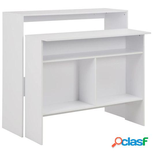 Mesa de bar con 2 tableros blanca 130x40x120 cm