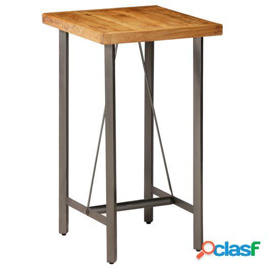 Mesa de bar de madera de teca maciza reciclada 60x60x107 cm