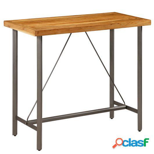 Mesa de bar de madera maciza de teca reciclada 120x58x106 cm
