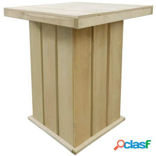 Mesa de bar jardín madera de pino FSC impregnada 75x75x110