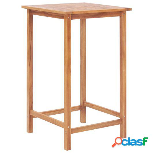 Mesa de bar para jardín de madera maciza de teca 65x65x110