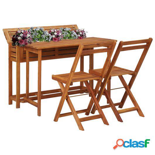 Mesa de bistró con 2 sillas y jardinera madera maciza de