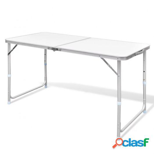 Mesa de camping plegable ajustable 120x60 cm